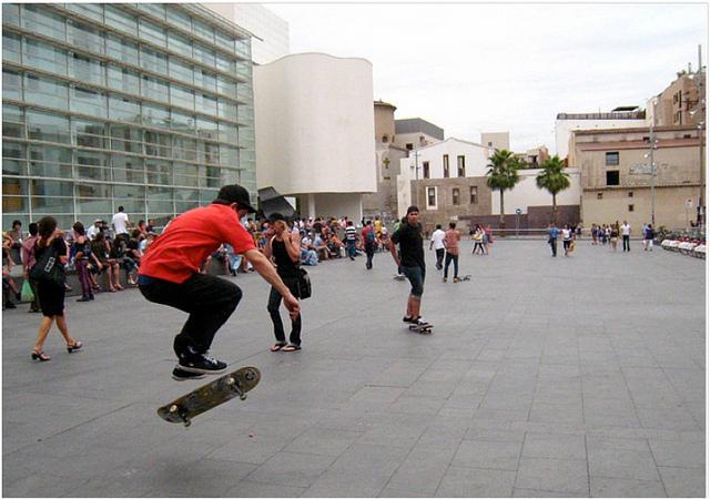 skater at barcelona angels square