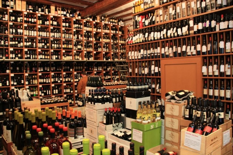 wine shelves in Barcelona