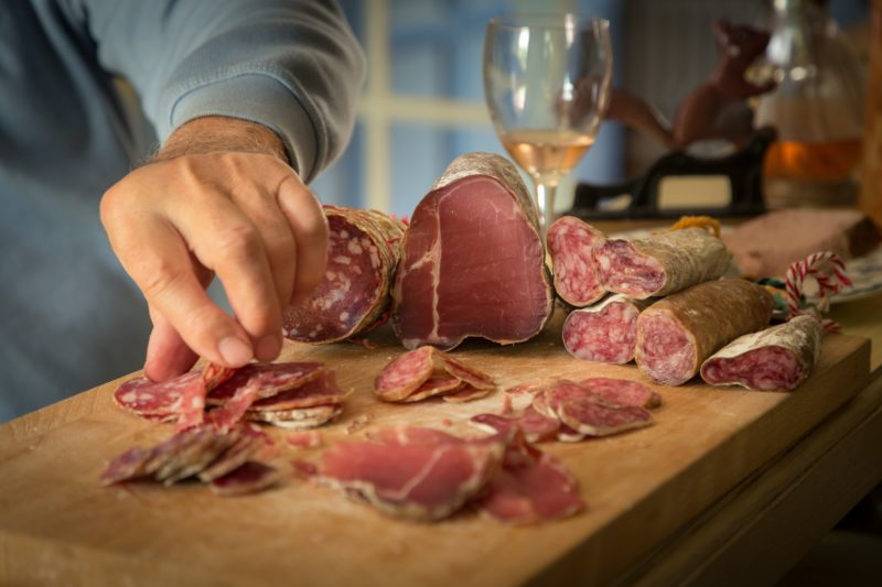 wine and cured meats